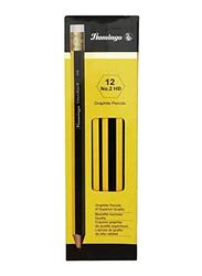 Flamingo 12-Piece No. 20 HB Jumbo Pencils, Yellow/Black