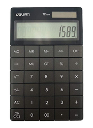 Deli 1589P Electronic Calculator 12 Digits Large Display with Back Button Dual Power, Black
