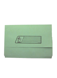 Delight Premier Document Wallet Half Flap Cover Folder, F4 220GSM, 10 Pieces, Green
