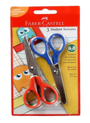 Faber-Castell Student Scissors in Blister Card, 3 Pieces, Assorted