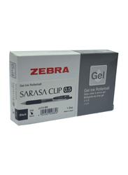 Zebra 12-Piece Sarasa Clip Gel Ink Rollerball Pen, 0.5mm, Black