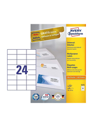Avery Zweckform 3474 Multipurpose Labels, 100 Sheets, A4 Size, White