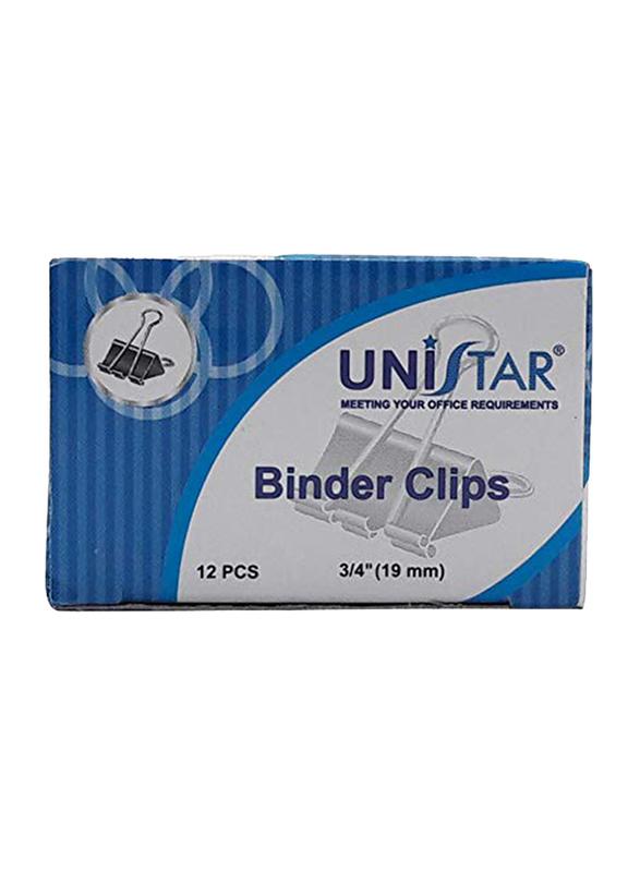 Unistar Binder Clips, 19mm, 12 Pieces, Black