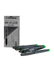 Zebra 10-Piece Direct Ink Roller Ball Pen, 0.5mm Set, AX5, Green