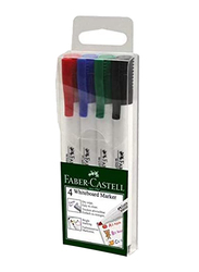 Faber-Castell 4 Whiteboard Markers Slim Fine-tip, 156072, 4 Pieces, Multicolour