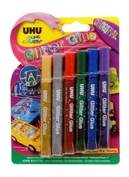 UHU Glitter Glue Set, 6 Pieces, Multicolour