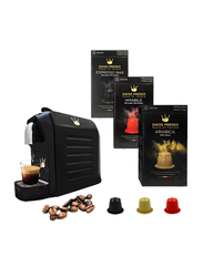 Swiss Presso Coffee Machine with 30 Swiss Presso Coffee Capsules, 1255W, Black