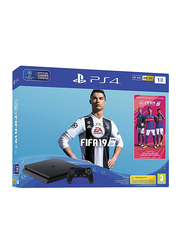 Sony PlayStation 4 Slim Console, 1TB, with 1 Controller and 1 Game (FIFA 19), Black