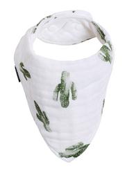 Bebe Au Lait Oh So Soft Saguaro Bamboo Blend Bebe Muslin Baby Bandana Bib, BBBBSG, White/Green