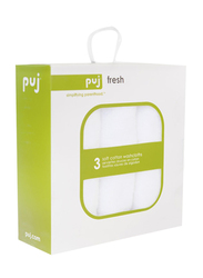 PUJ 3-Piece Fresh Wash Cloths for Baby, White