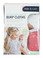 Bebe Au Lait Oh So Soft Mermaid and Bubbles Bamboo Blend Muslin Baby Burp Cloths, UBBBME2, White/Pink