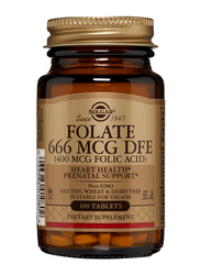 Solgar Folate 666 MCG DFE (400 MCG Folic Acid) Dietary Supplement, 100 Tablets