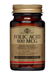 Solgar Folic Acid Dietary Supplement, 800mcg, 100 Vegetable Capsules
