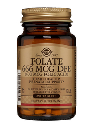 Solgar Folate 666 MCG DFE (400 MCG Folic Acid) Dietary Supplement, 250 Tablets