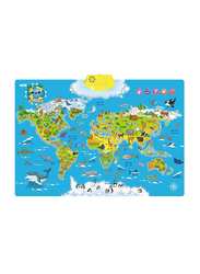 World Map Interactive Poster, Blue