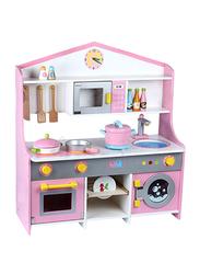 Wooden Kitchen Set with Washing Machine, Pink, Ages 3+