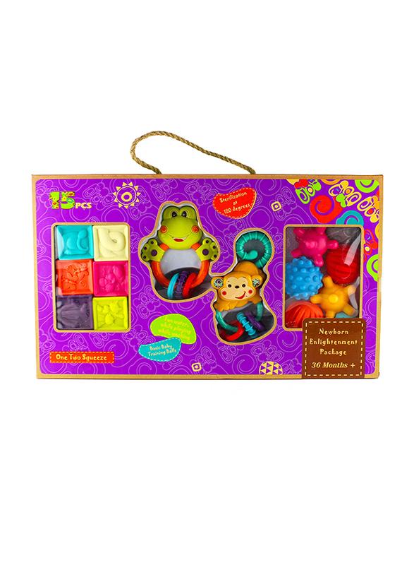 15-Piece Soft Rubber Blocks & Baby Rattles Set