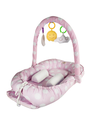 Babyjem Portable Baby Bed with Toys, 0-6 Months, Pink