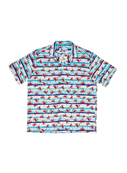 BiggDesign Anemoss Crab Patterned Short Sleeve Shirt for Men, Small, Multicolour