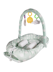 Babyjem Portable Baby Bed with Toys, 0-6 Months, Green