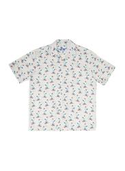 BiggDesign Anemoss Sailor Seagull Patterned Short Sleeve Shirts for Men, Extra Large, Ivory/Blue