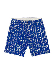 BiggDesign Anemoss Anchor Patterned Chino Shorts for Men, Extra Large, Blue