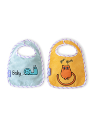 Milk & Moo 2-Pieces Tombish Cat & Sangaloz Muslin Baby Bibs Set, Orange/Blue
