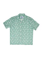 BiggDesign Anemoss Sailboat Patterned Short Sleeve Shirts for Men, Small, Green/White