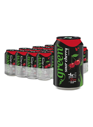 Green Cola Sour Cherry Carbonated Soft Drink, 24 Cans x 330ml