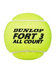 Dunlop Fort 3 All Court Tennis Balls, 3 Piece, Yellow