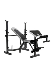 Marshal Fitness MFAY-600D Fitness Exercise Bench, Black/Silver
