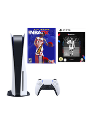 Sony PlayStation 5 Console, International CD Version, 825GB, With 1 Controller and 2 Games (FIFA 21, NBA 2K21), White/Black