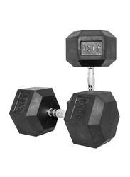 Harley Fitness Rubber Coated Fixed Hex Dumbbell Set, 2 x 50KG, Black/Silver