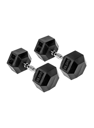 Harley Fitness Rubber Coated Fixed Hex Dumbbell Set, 2 x 22.5KG, Black/Silver
