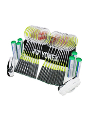 Yonex Gr202 20 School Badminton Racket/2 Badminton Net/3 Dozen Nylon Shuttles and Carry Bag Set, White/Yellow/Black