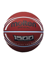 Molten Deep Channel Rubber Basketball, Size 7, Brown/White
