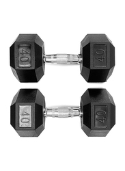 Harley Fitness Rubber Coated Fixed Hex Dumbbell Set, 2 x 40KG, Black/Silver
