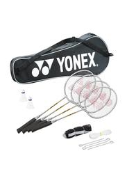 Yonex GR303S 4 Badminton Rackets/2 Shuttle/Pole and Net Set, Multicolor