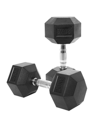 Harley Fitness Rubber Coated Fixed Hex Dumbbell Set, 2 x 20KG, Black/Silver