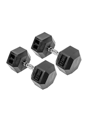 Harley Fitness Rubber Coated Fixed Hex Dumbbell Set, 2 x 27.5KG, Black/Silver