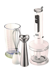 Black+Decker Four-in-One Hand Blender with Chopper and Whisk, 400W, SB4000-B5, White