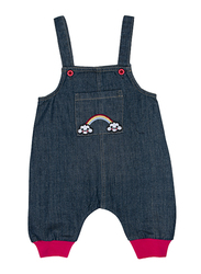 Jelliene Cotton Blend Contrast Cuff Dungarees for Baby Girls, 6-9 Months, Blue