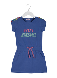 Jelliene Stay Awesome Knitdress for Girls, 5-6 Years, Blue