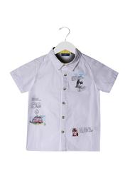 Jam Cotton Travel Print Shirt for Boys, 3-4 Years, White