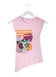 Jelliene Asymmetric Girls Hem Top, 8-9 Years, Pink