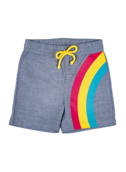 Jelliene Cotton Blend Rainbow Drawstring Shorts for Baby Girls, 9-12 Months, Blue
