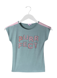 Jelliene Contrast Shoulder Stripe Girls T-Shirt, 9-10 Years, Blue