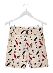 Jam Cotton Blend Allover Print Shorts for Boys, 5-6 Years, White