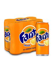 Fanta Orange Soft Drink, 6 Cans x 330ml