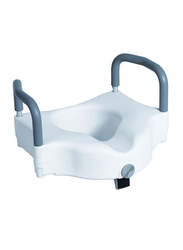 Media6 Raised Toilet Seat With Lock and Handle, White